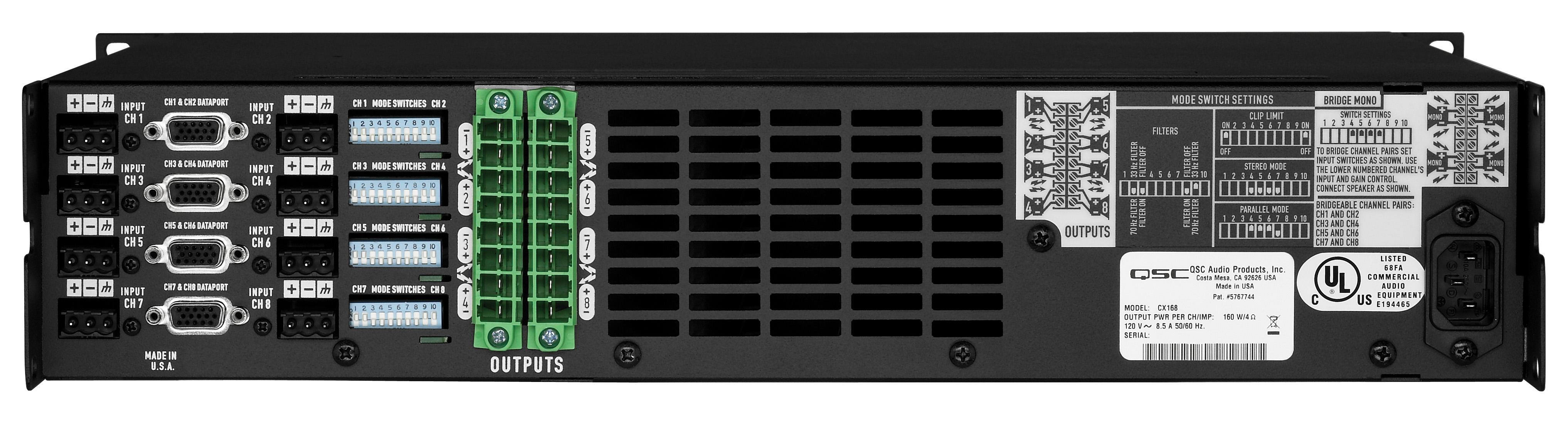 QSC 的CX108V和CX168是为机柜空间有限的固定安装系统而设计的多通道功率放大器,其通道密度是前所未有的。CX108V和CX168在8欧姆时70伏时,每通道功率分别为100瓦和90瓦。这两种型号的每对通道都可以桥接,可以用作4通道,5通道,6通道或8通道的单元。与整个CX系列一样,这个8通道的型号带有可用于功放远程管理或信号处理的数据口,加入了QSC著名的PowerLight技术,其质量和可靠性无与伦比。 QSC的PowerLight技术将使您的系统声音达到一个全新的高度,不仅带来更强劲的低音和干